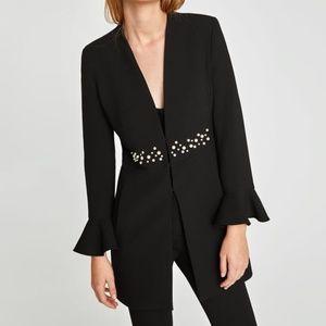 New Zara Basic Black Pearl Ruffle Coat Jacket M